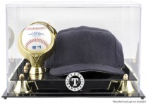 Texas Rangers Baseball Cap And Ball Display Case