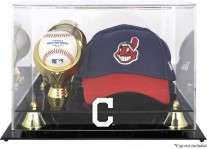 Cleveland Indians Baseball Cap And Ball Display Case