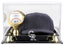 Colorado Rockies Baseball Cap And Ball Display Case