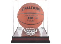 Atlanta Hawks Mahogany Basketball Ball Display Case