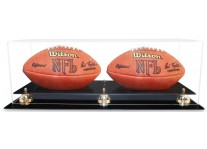 Double Football Ball Display Case With Gold Or Silver Risers