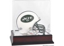 Mahogany New York Jets Mini Football Helmet Display Case