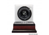 San Jose Sharks Puck Display Case - Mahogany Base