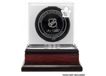 Toronto Maples Leafs Puck Display Case - Mahogany Base