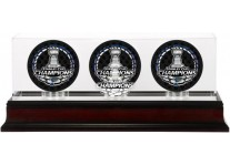 2019 Stanley Cup Champions Triple Puck Case- Mahogany Base